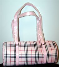 Pink Plaid barrel bag