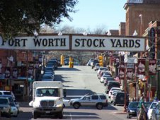 Saloons and honky-tonks line the streets in the Stockyard District.