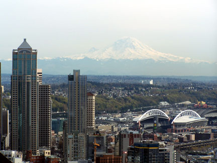 Mt. Ranier and Seattle from the Space Needle.