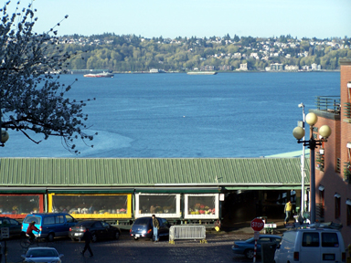 Looking down Stewart Street toward Pike Market and Puget Sound.