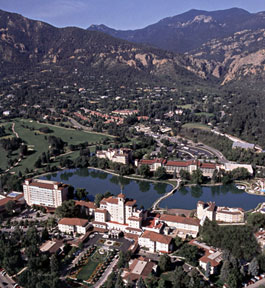 Bird's eye view of the Broadmoor property at the foot of Cheyenne Mountain