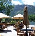 The patio and lakes at The Broadmoor.