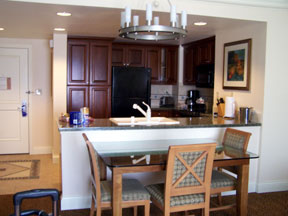 Kitchen/dinette in our 2-bedroom timeshare suite; viewed from the living room.