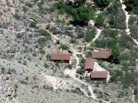 Phantom Lodge at the bottom of Grand Canyon — accessible by foot or mule.